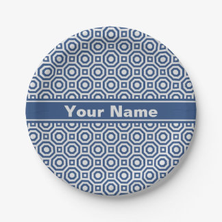 Gray and Navy Nested Octagon Paper Plate