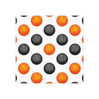 Gray and Orange Basketball Pattern Canvas Print