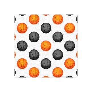 Gray and Orange Basketball Pattern Canvas Print