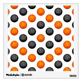 Gray and Orange Basketball Pattern Wall Sticker