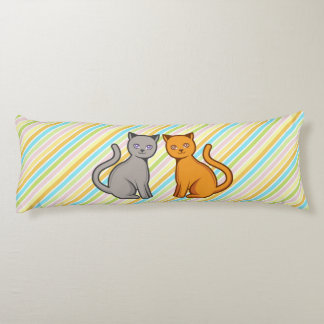 Gray and orange cats body pillow