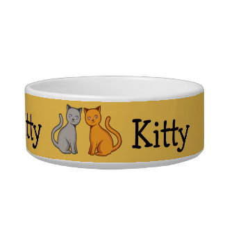 Gray and orange cats cat food bowls