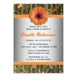 "Gray and Orange Daisy Bridal Shower Invitation 5"" X 7"" Invitation Card"