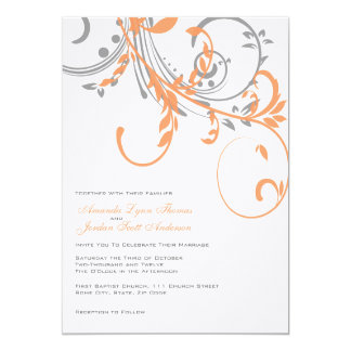 Gray and Orange Double Floral Wedding Invitation