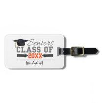 Gray and Orange Graduation Gear Bag Tag