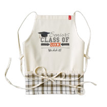 Gray and Orange Graduation Gear Zazzle HEART Apron