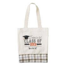 Gray and Orange Graduation Gear Zazzle HEART Tote Bag