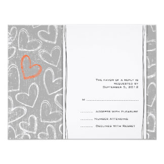 Gray and Orange Grunge Hearts Wedding RSVP Card