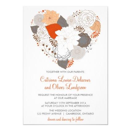 "Gray and Orange Heart Flowers Wedding Invitation 5"" X 7"" Invitation Card"