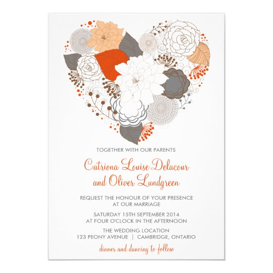 Heart Images For Wedding Invitations: Gray And Orange Heart Flowers Wedding Invitation