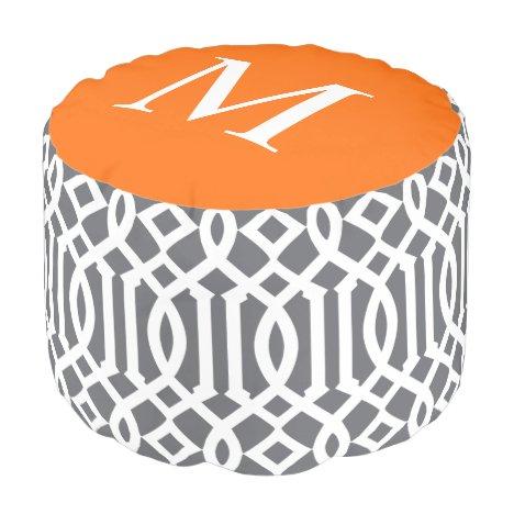 Gray and Orange Moroccan Trellis Monogram Pouf