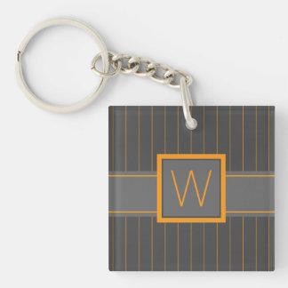 Gray and Orange Pinstripes Acrylic Keychain