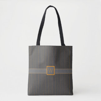 Gray and Orange Pinstripes All-Over-Print Bag