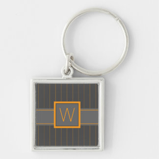 Gray and Orange Pinstripes Keychain