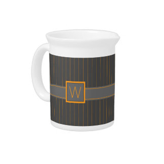 Gray and Orange Pinstripes Pitcher
