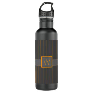 Gray and Orange Pinstripes Water Bottle