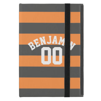 Gray and Orange Rugby Stripes Jersey Name Number Cover For iPad Mini
