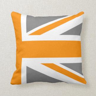 Gray and Orange Union Jack Half Pillows