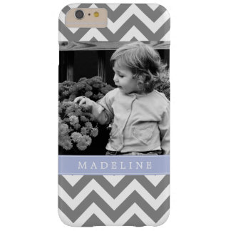 Gray and Periwinkle Zigzags Personalized Photo Barely There iPhone 6 Plus Case