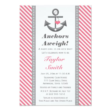 Beach Themed Gray and Pink Anchor Nautical Baby Shower Card