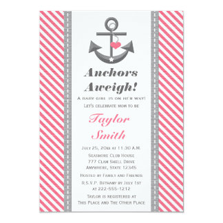 Gray and Pink Anchor Nautical Baby Shower 5x7 Paper Invitation Card