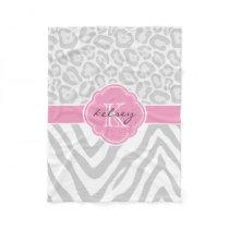 Gray and Pink Animal Print Custom Monogram Fleece Blanket