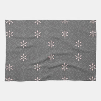 Gray and Pink Beautiful Abstract Retro Flowers Kitchen Towels