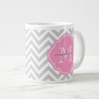 Gray and Pink Chevron Custom Monogram 20 Oz Large Ceramic Coffee Mug