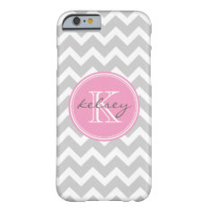 Gray And Pink Chevron Custom Monogram Barely There Iphone 6 Case at Zazzle