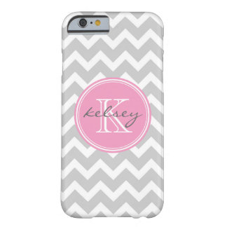 Gray and Pink Chevron Custom Monogram Barely There iPhone 6 Case