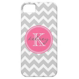 Gray and Pink Chevron Custom Monogram iPhone 5 Case