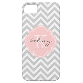 Gray and Pink Chevron Custom Monogram iPhone 5 Covers