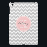 """Gray and Pink Chevron Custom Monogram Case For The iPad Mini<br><div class=""""desc"""">Cute and girly design with a modern preppy zigzag chevron pattern,  personalized with your custom monogram name and initial in a chic circle frame. Click Customize It to change the monogram text fonts and colors to create your own one of a kind design. Adorable and unique gifts!</div>"""