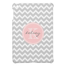 Gray and Pink Chevron Custom Monogram Case For The iPad Mini