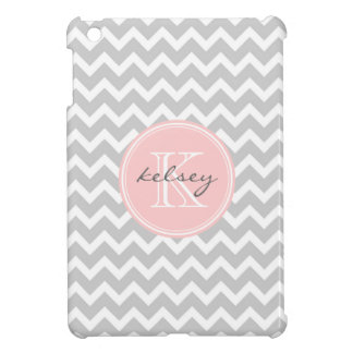 Gray and Pink Chevron Custom Monogram Case For The iPad Mini