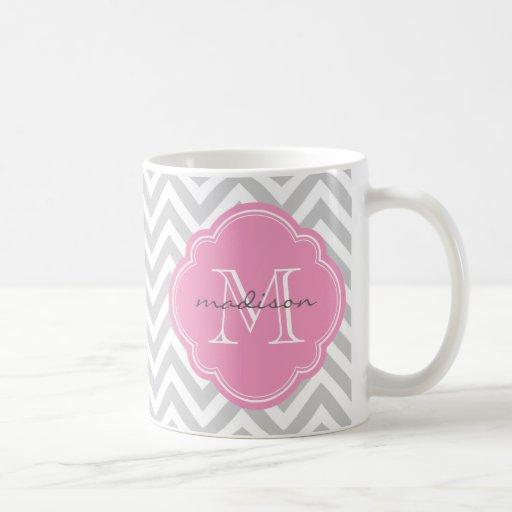 Gray and Pink Chevron Custom Monogram Classic White Coffee Mug