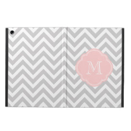 Gray and Pink Chevron Custom Monogram iPad Air Cover