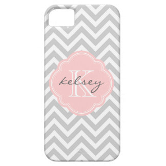 Gray and Pink Chevron Custom Monogram iPhone SE/5/5s Case