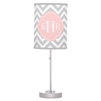 Gray and Pink Chevron Custom Monogram Table Lamp