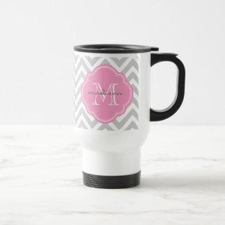 Gray and Pink Chevron Custom Monogram Travel Mug