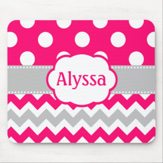 Gray and Pink Chevron Dots Personalized Mouse Pad