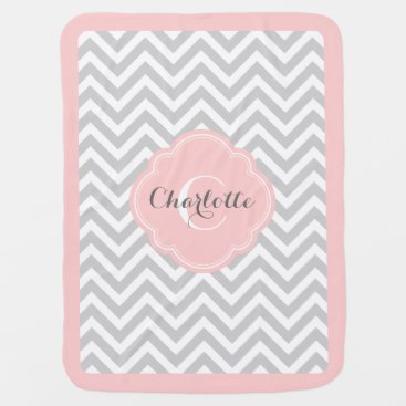 Toddler & Baby themed Gray and Pink Chevron Monogram Baby Blanket