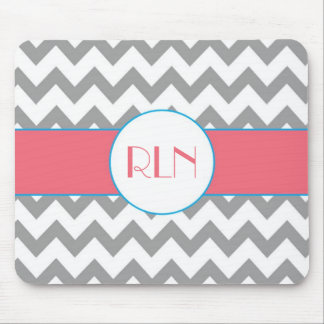Gray and Pink Chevron Monogram Mouse Pad
