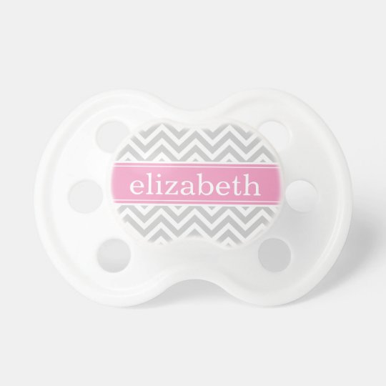 Gray and Pink Chevron Monogram Pacifier