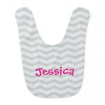 Gray and pink chevron pattern baby bib for girls