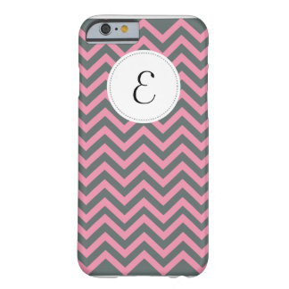 Gray and Pink Chevron Pattern Monogram iPhone 6 ca Barely There iPhone 6 Case