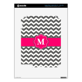 Gray and Pink Chevron Personalized Case iPad 3 Decal