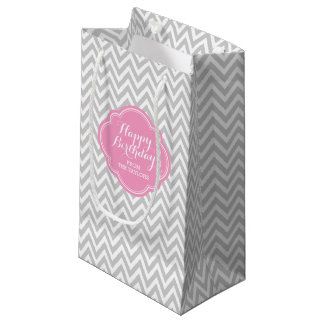 Gray and Pink Chevron Personalized Gift Bag Small Gift Bag