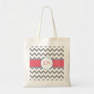 Gray and Pink Chevron Striped Monogram Bag