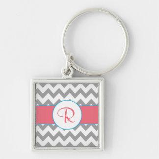 Gray and Pink Chevron Striped Monogram Keychain